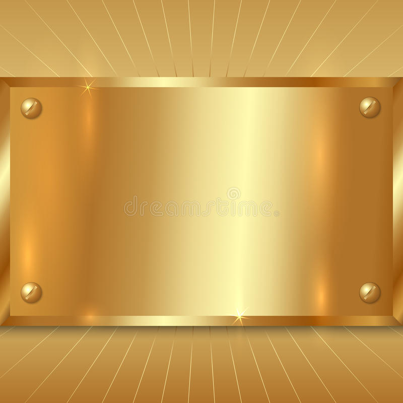 Free Vector Metallic Golden Plate Stock Photography - 35057172