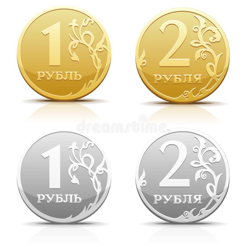 Vector metallic Russian coin ruble. Vector silver gold metallic Russian coin ruble stock illustration