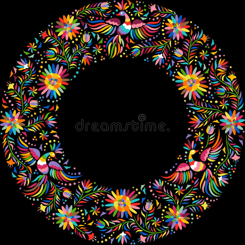 Vector Mexican embroidery round frame pattern royalty free illustration