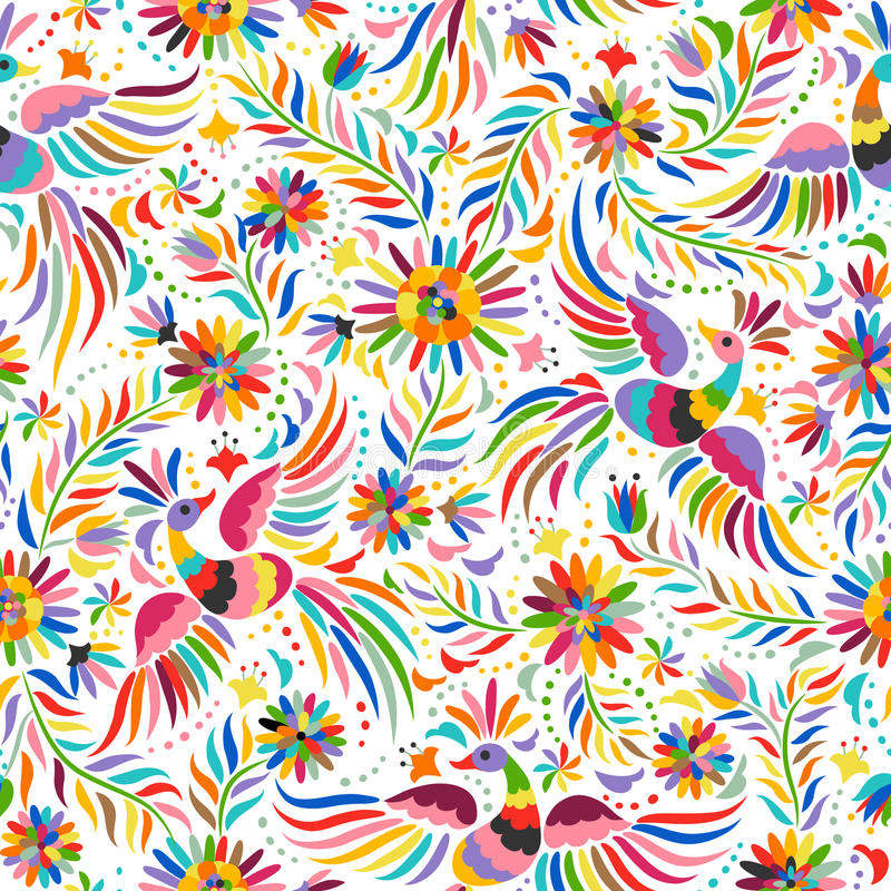 Vector Mexican embroidery seamless pattern stock photography