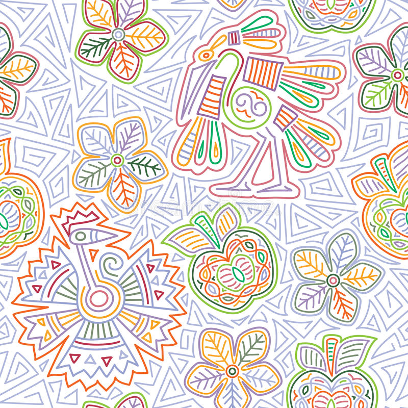 Vector mexican embroidery seamless pattern stock