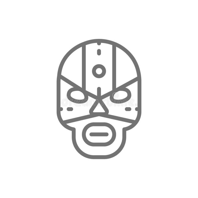 Mexican fighter mask, wrestler line icon. Vector mexican fighter mask, wrestler line icon. Symbol and sign illustration design. Isolated on white background vector illustration