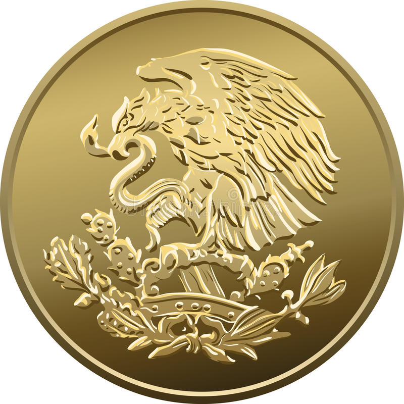 Vector Mexican money gold coin with the image of the heraldic ea stock photography