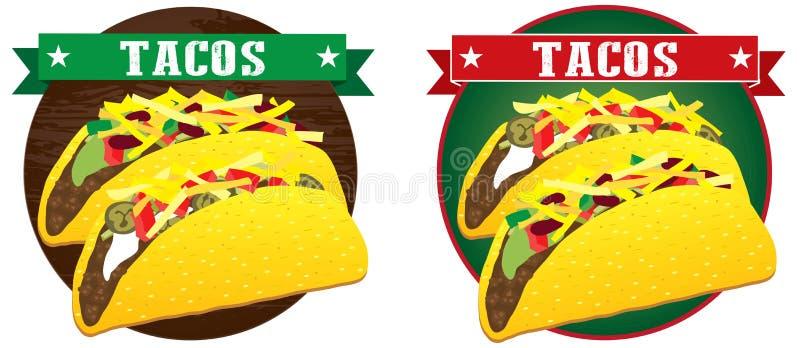 Vector mexicano de la bandera del taco stock de ilustración
