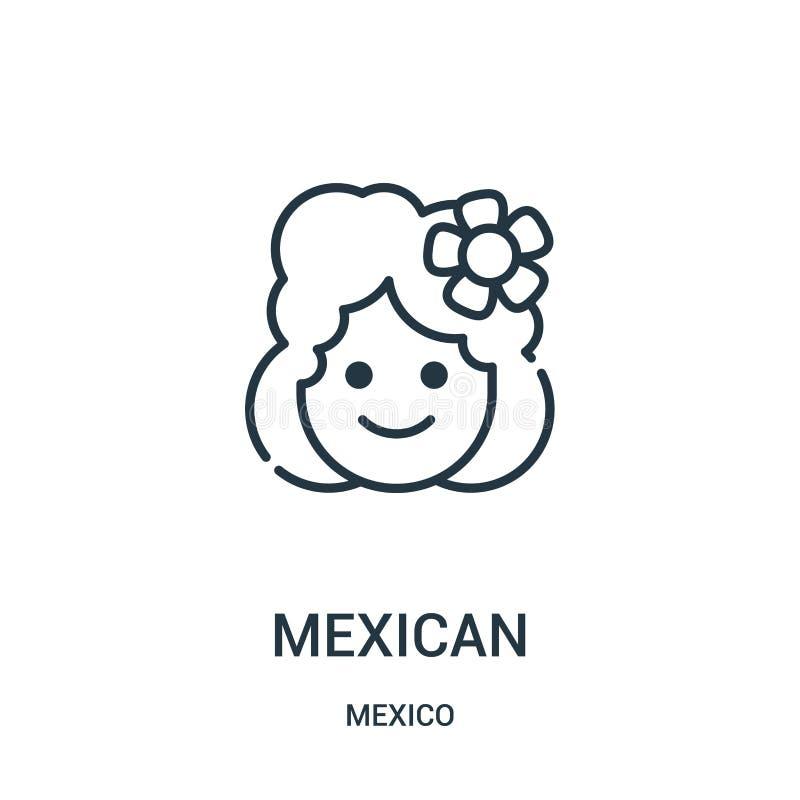 vector mexicano del icono de la colección de México Línea fina ejemplo mexicano del vector del icono del esquema ilustración del vector