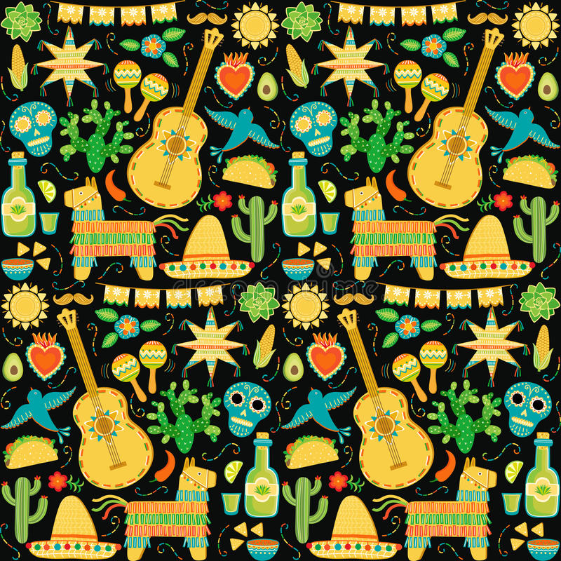 Vector Mexico seamless pattern. Mexican background royalty free illustration