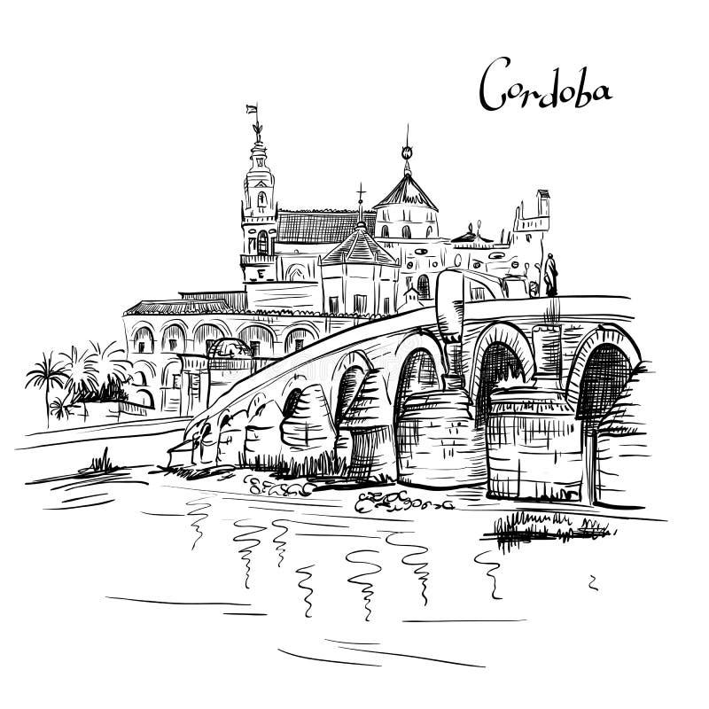 Vector Mezquita e a ponte romana em Córdova, Espanha ilustração do vetor