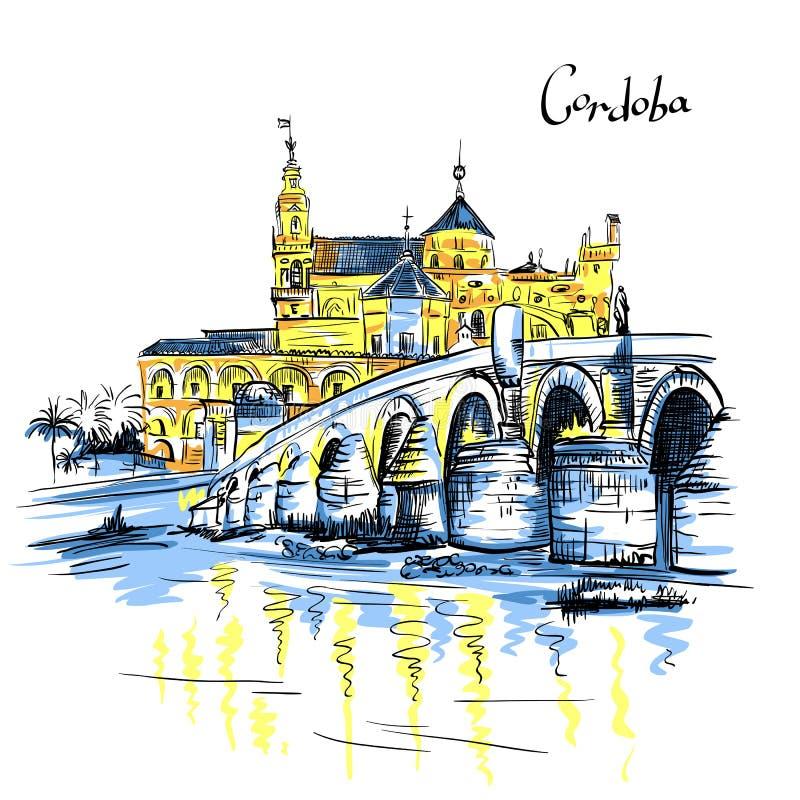 Vector Mezquita e a ponte romana em Córdova, Espanha ilustração royalty free