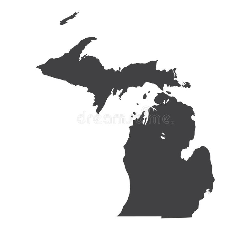 Vector michigan map silhouette royalty free stock images