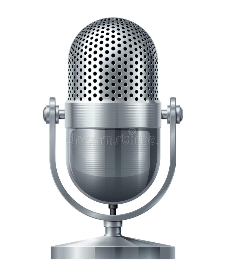 Vector microphone. Metal microphone. Eps10. Transparency used. RGB. Global colors. Gradients used stock illustration