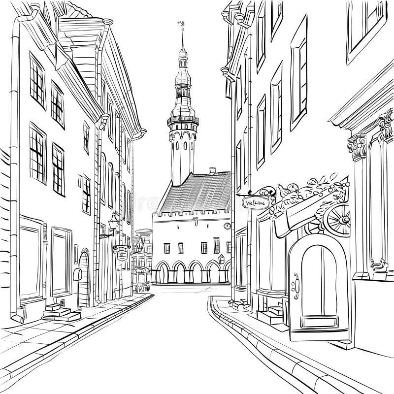Vector Middeleeuwse Oude Stad, Tallinn, Estland vector illustratie