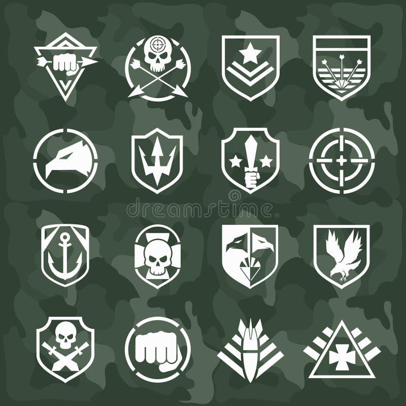 Vector militaire symboolpictogrammen vector illustratie