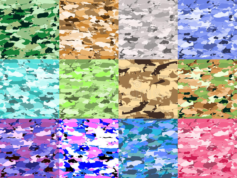 Vector military camouflage patterns set. Hand drawn spots. Can be used for fashion feminine fabric textile design vector illustration