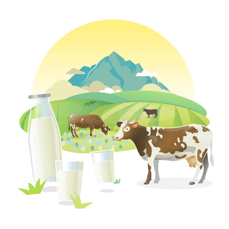 Vector milk lable illustration with cows graze on alpine meadows, on mountain landscape background. Milk lable illustration with cows graze on alpine meadows stock illustration