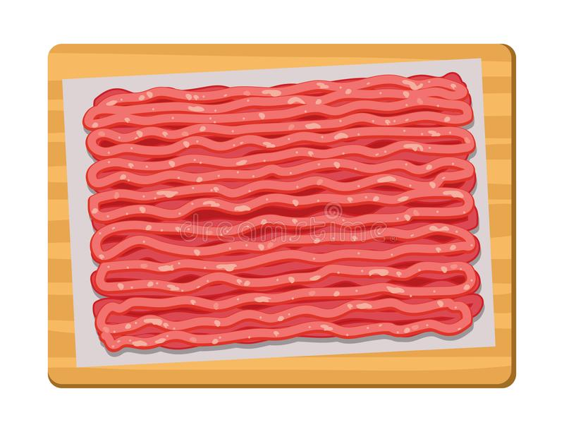 Vector minced meat on wooden kitchen board stock illustration