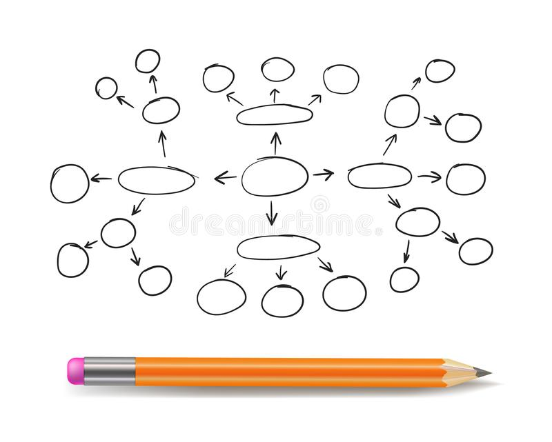 Vector Mind Map Blank Template, Hand Drawn Scheme, Plan Concept, Outline Drawing Isolated with Pencil. vector illustration