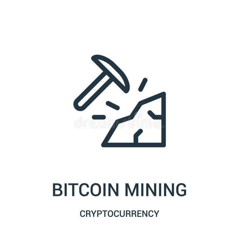 vector minero del icono del bitcoin de la colección del cryptocurrency Línea fina ejemplo minero del vector del icono del esquema ilustración del vector