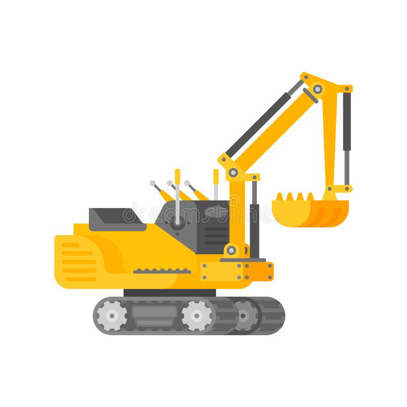 Vector mini excavator in half isometric flat style royalty free illustration