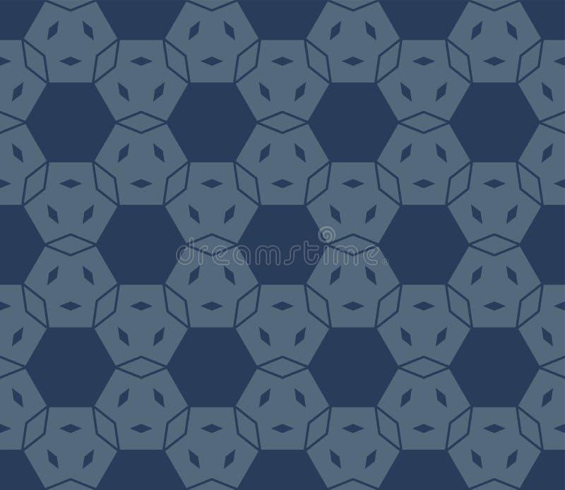 Vector minimaal geometrisch naadloos patroon met zeshoeken, net Donkerblauwe kleur vector illustratie