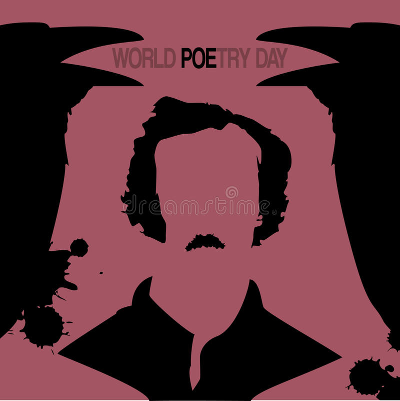 Vector minimal concept for world poetry day. With crows and silhouette of black poet Edgar Allan Poe vector illustration
