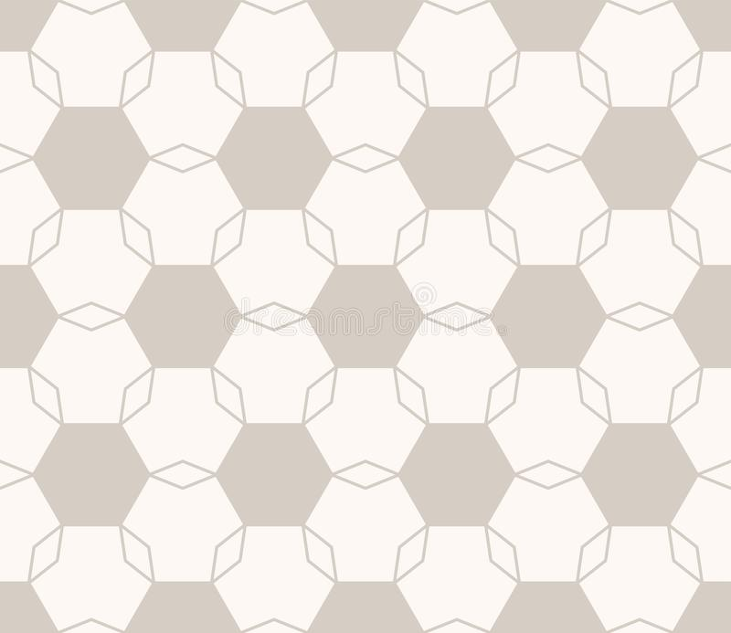 Vector minimal geometric floral seamless pattern. Light brown and beige color stock illustration