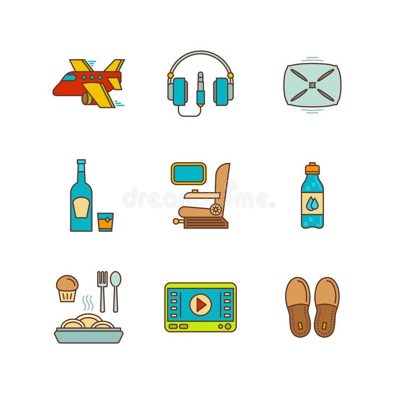 Vector minimal lineart flat airplane travel icon set vector illustration