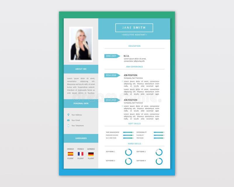 Vector Minimalist Cv / Resume template design. Professional CV resume template design. Infographic Resume with national flags. CV stylish elegance template. CV stock illustration