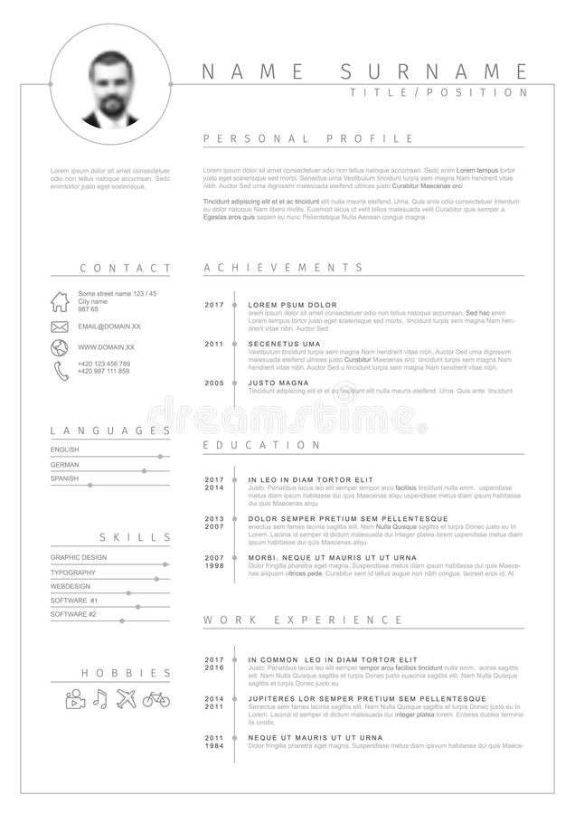 Vector minimalist cv / resume template royalty free illustration