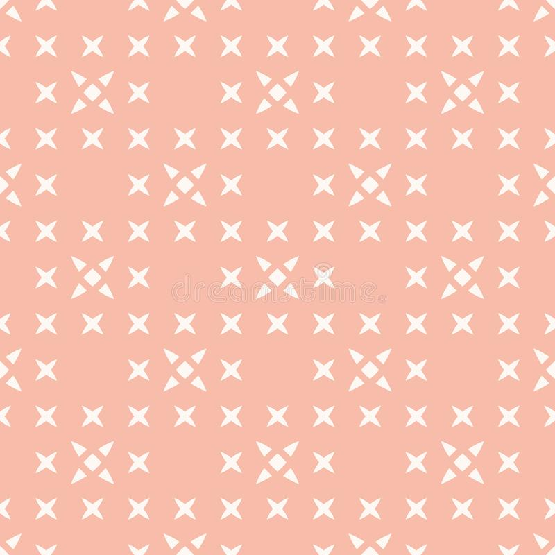 Vector minimalist floral geometric seamless pattern. Pink and white texture stock illustration