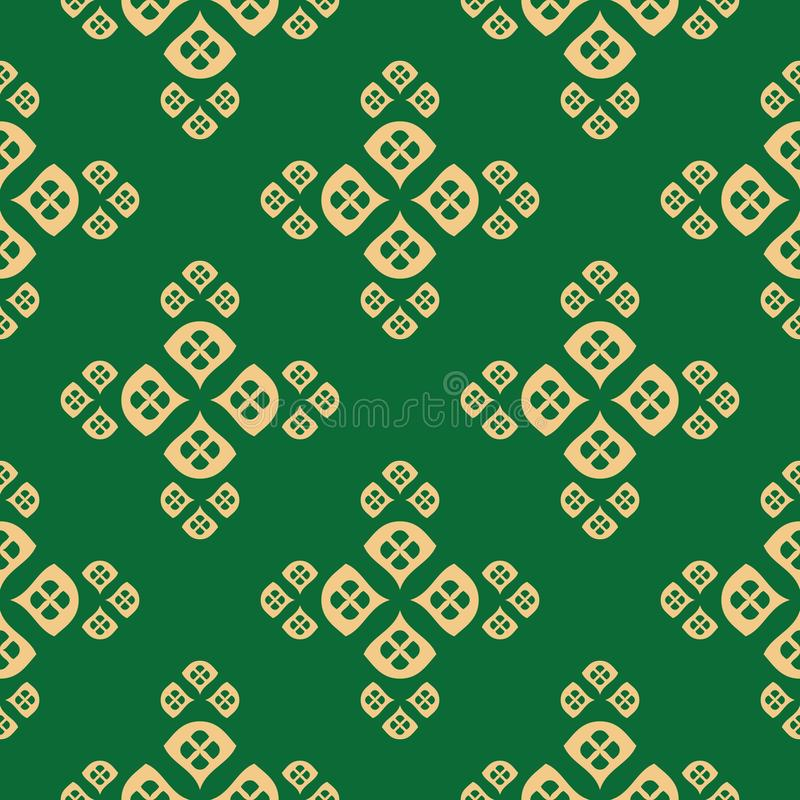 Vector minimalist floral geometric seamless pattern with small petals, leaves royalty free illustration