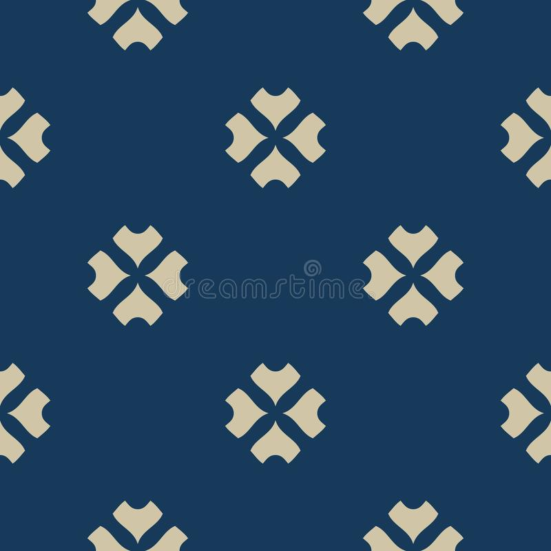 Vector minimalist geometric floral seamless pattern. Gold and dark blue color vector illustration
