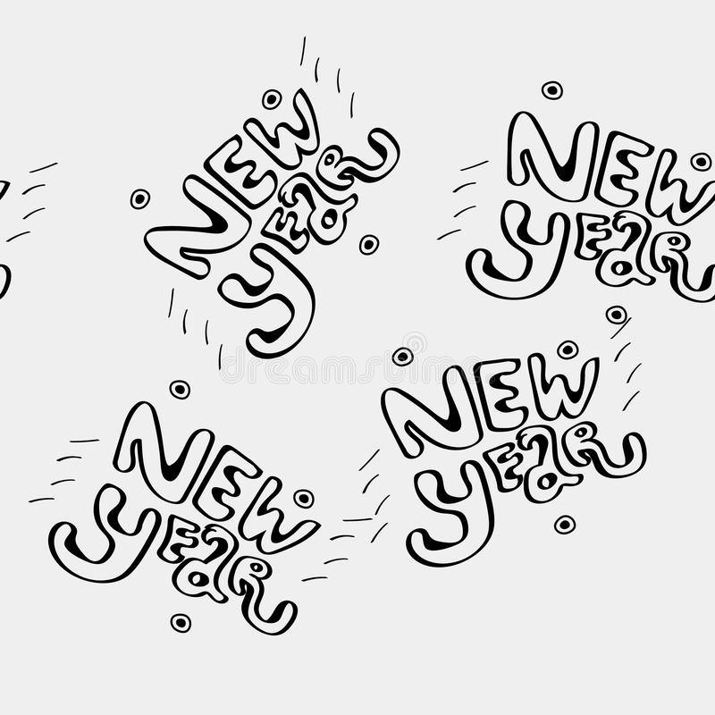 Vector minimalist monochrome black and white pattern new year lettering.  stock illustration