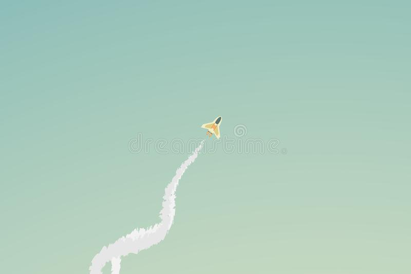 Vector Minimalist style rocket flying over cloud royalty free illustration