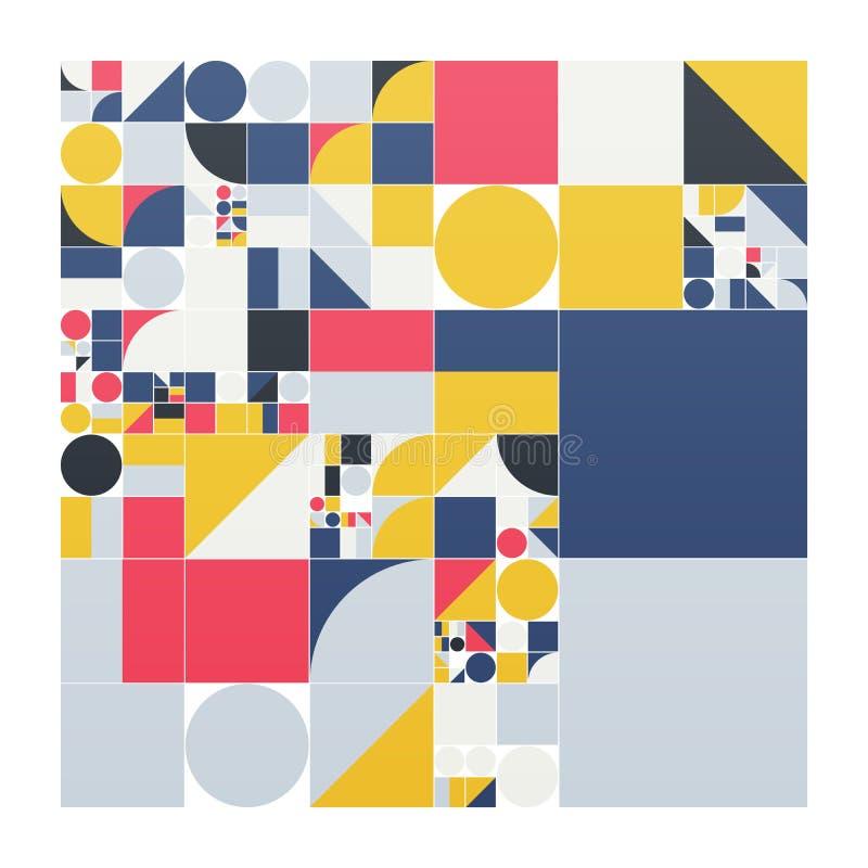 Vector minimalistic affiche met eenvoudige vormen Procedure geometrisch Zwitserse stijl abstracte lay-out Conceptuele generatief stock illustratie