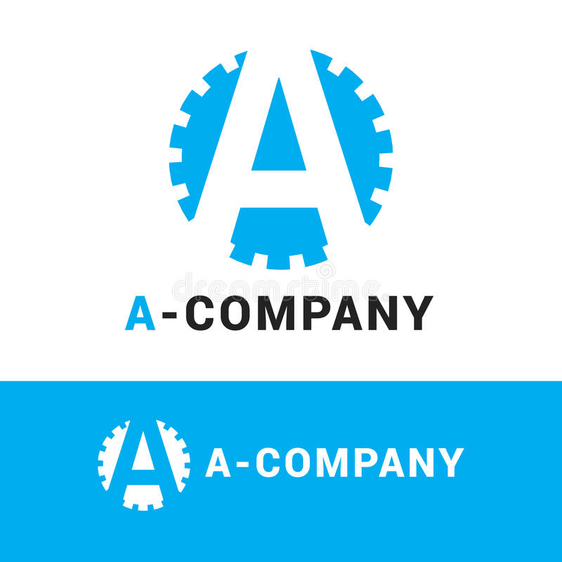 Vector minimalistic blauwe a-brief logotype royalty-vrije illustratie