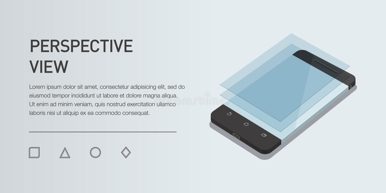 Vector minimalistic 3d isometric illustration cell phone. perspective view. Mockup generic smartphone. Template for infographic or presentation UI design vector illustration