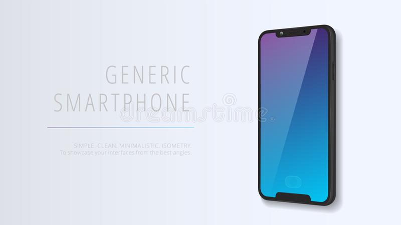 Vector minimalistic 3d isometric illustration cell phone. Smartphone perspective view. Mockup generic device. Template for. Infographics or presentation UI stock illustration
