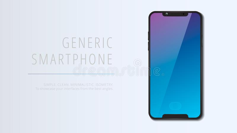 Vector minimalistic 3d isometric illustration cell phone. Smartphone perspective view. Mockup generic device. Template for. Infographics or presentation UI vector illustration