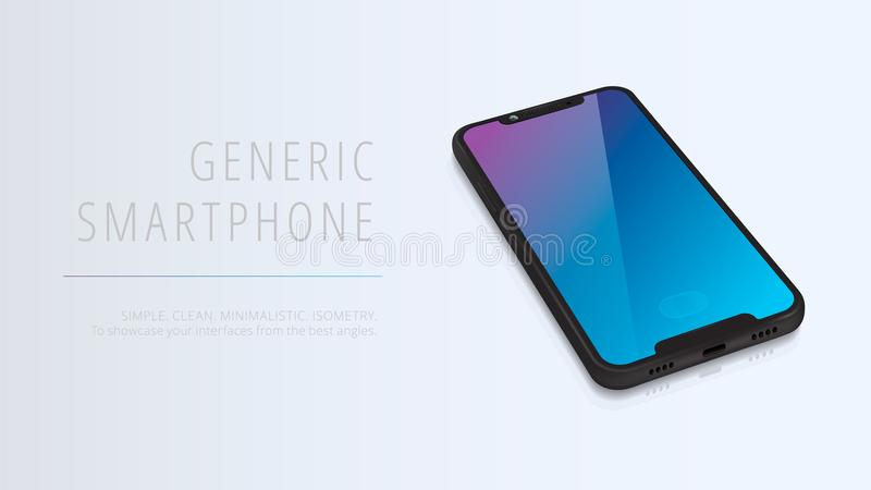 Vector minimalistic 3d isometric illustration cell phone. Smartphone perspective view. Mockup generic device. Template for royalty free illustration