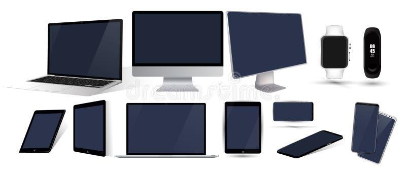 Vector minimalistic 3d isometrisch illustratie vastgesteld apparaat royalty-vrije illustratie
