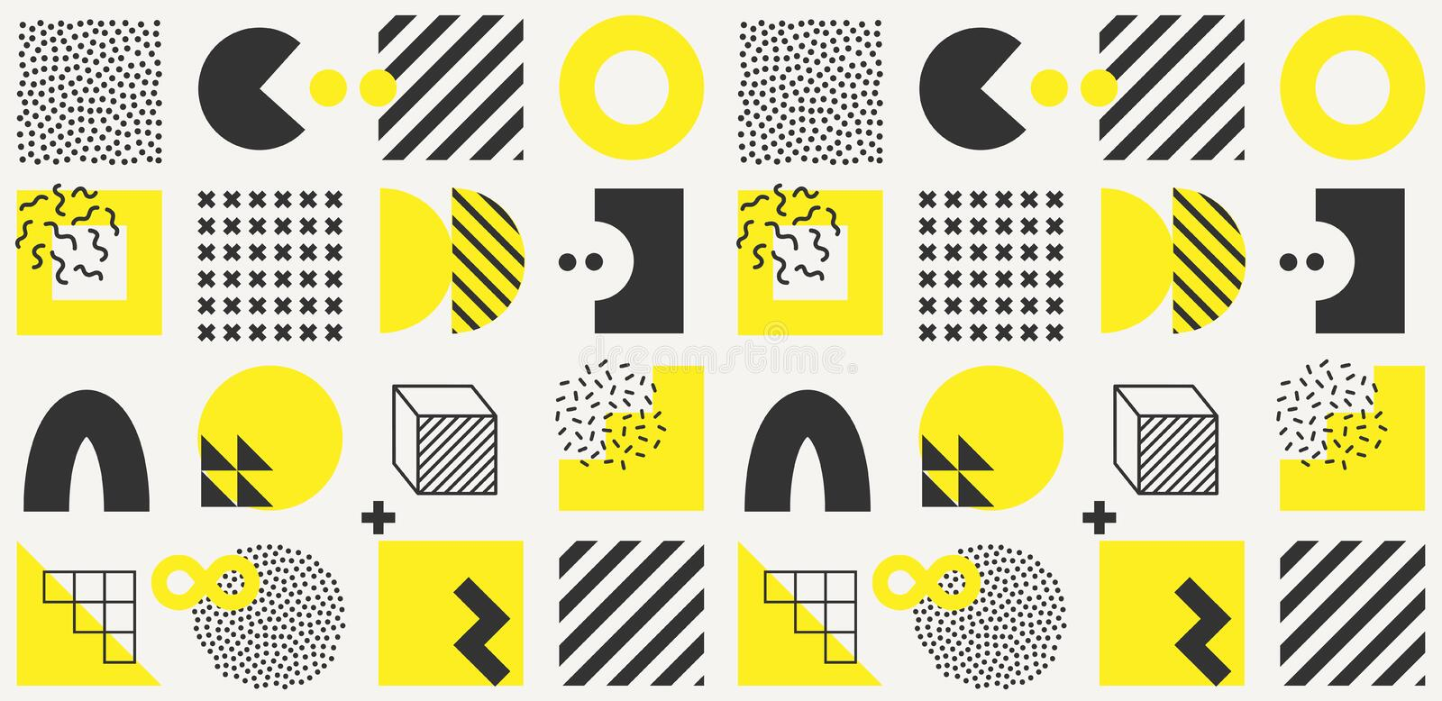 Vector minimalistic seamless pattern with bright bold geometric shapes. Hipster Memphis style royalty free illustration