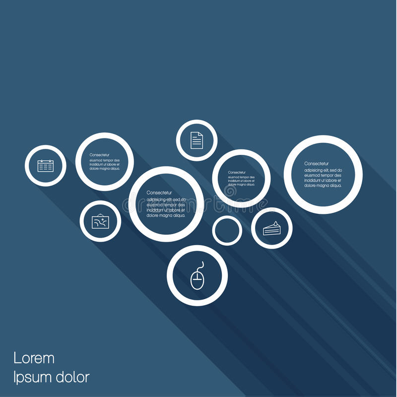 Vector minimalistic template. Outlie bubbles with flat shadow. A stock illustration