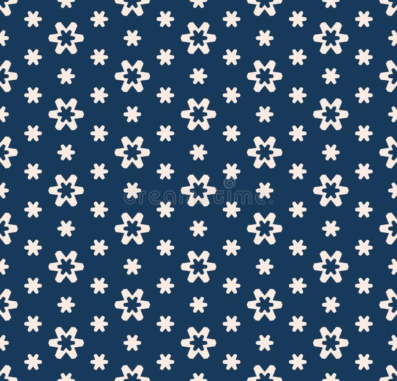 Vector minimalistisch bloemen naadloos patroon Diep blauwe en roze geometrische textuur vector illustratie