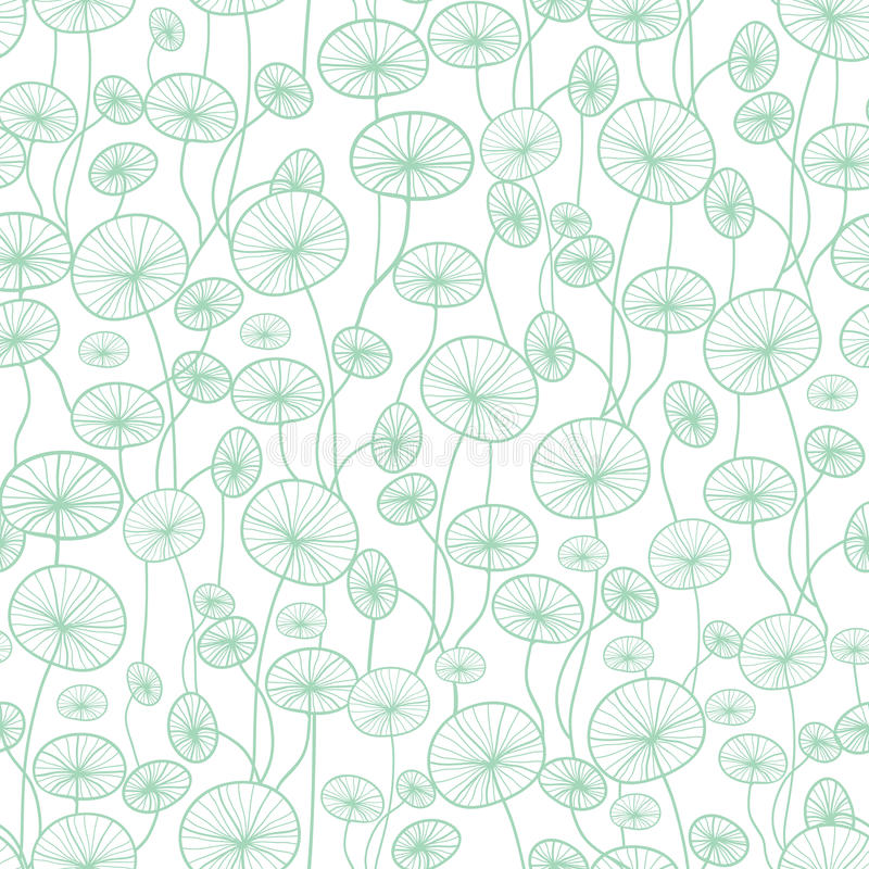 Vector mint green and white underwater seaweed plant texture drawing seamless pattern background. Great for subtle vector illustration