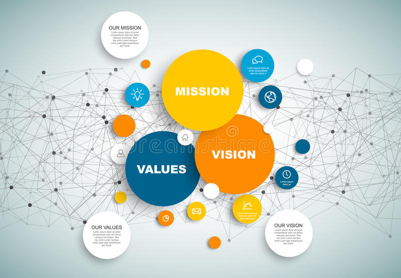 Vector Mission, vision and values diagram schema. Infographic with network in the background stock illustration