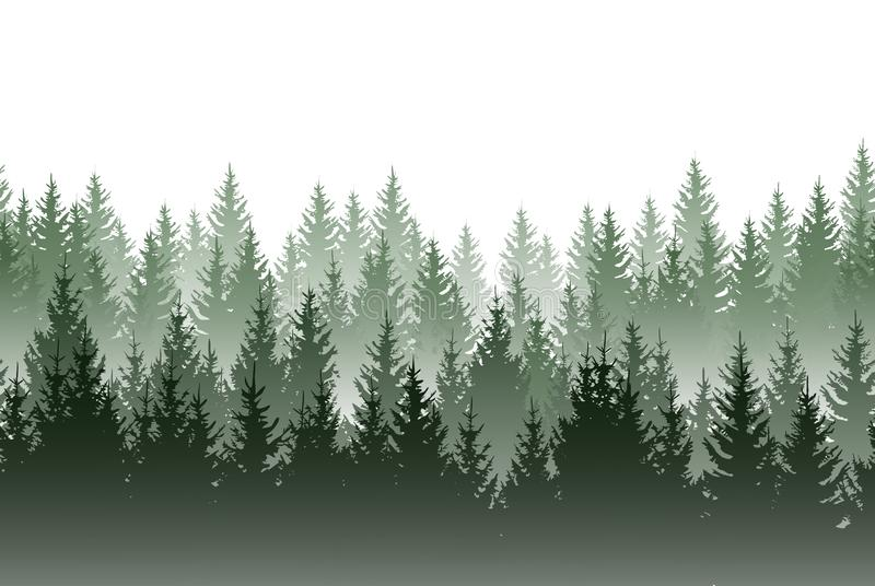 Vector misty green forest isolated on white background vector illustration
