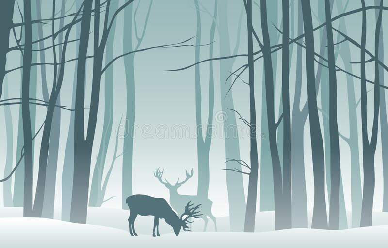 Vector misty winter landscape with silhouettes of trees and deer stock illustration