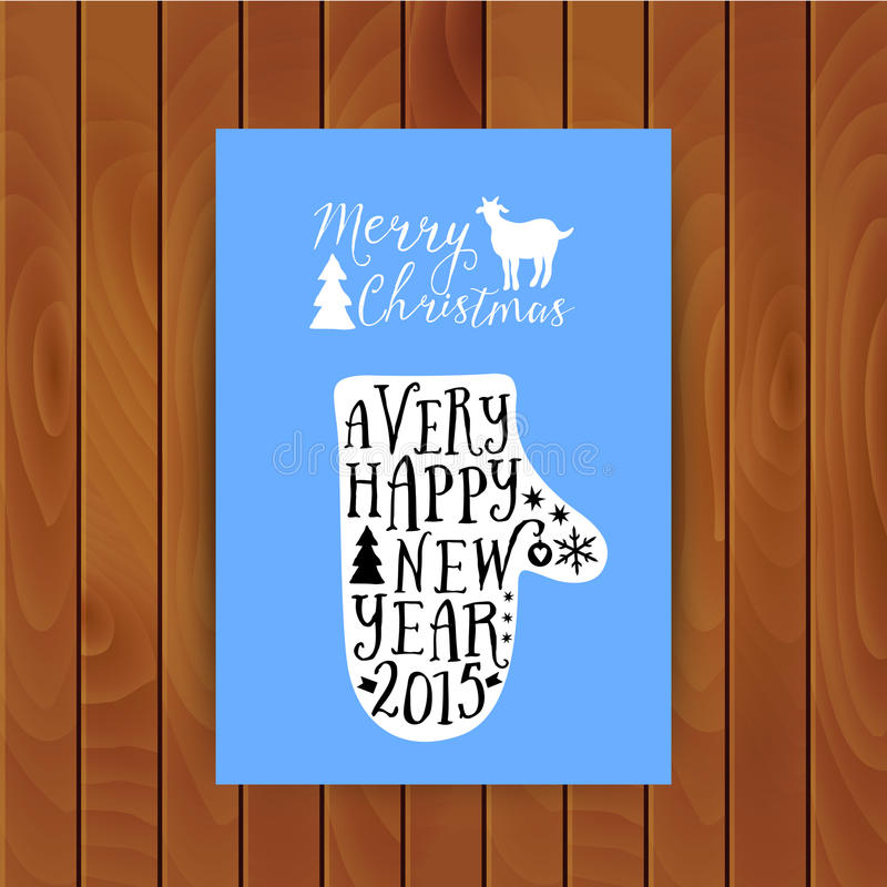 Vector mitten silhouette design card, Merry Christmas and Happy New Year lettering, typography composition. Greeting card on wood stock illustration