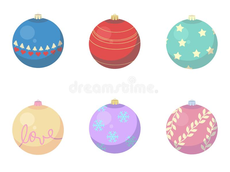 Vector mix of different Christmas Baubles tree decorations. Drawings royalty free illustration