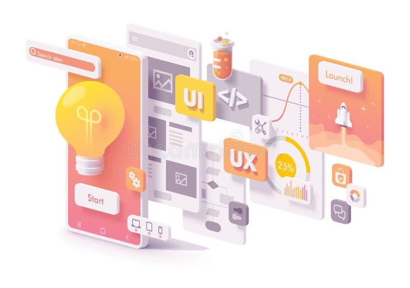 Vector mobiel app ontwikkelingsconcept vector illustratie